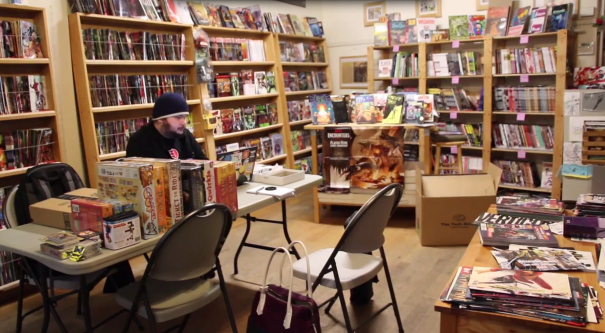 Lee moderates Reddit from a comic book shop. Credit: Tory Starr.