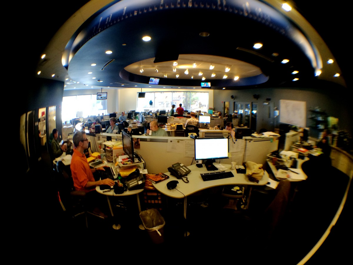 The newsroom at PRI's The World. Credit: Tory Starr