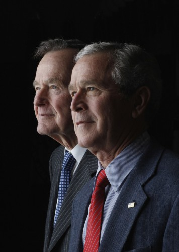 President George W. Bush and former President George H.W. Bush pose for a father-son portrait during the 2008 Easter weekend at Camp David in Thurmont, MD.  Photo by Eric Draper, Courtesy of the George W. Bush Presidential Library and Museum