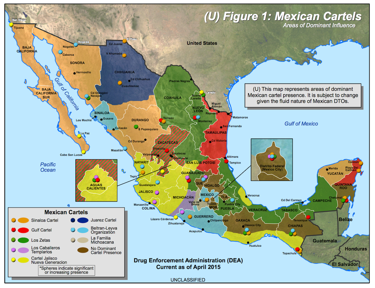 Mexico's drug cartels and their areas of operation, a 2014 update ...