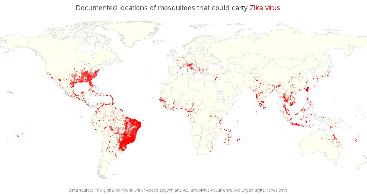 Medical Student George Harris Designed A Map Plotted The Two Mosquitos Known To Carry Zika Using Tableau The Color Scheme And Bigger Dots Make Brazil Pop